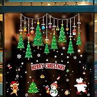 Emwel Christmas Window Stickers, 2 Pack 60x90CM Traceless Static Wall Stickers DIY Xmas Window Decorations Santa Claus Shop Window Clings Snowman Window Decals Reindeer Glass Stickers Wall Decor