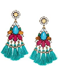 Young & Forever Boho Gypsy Turquoise Blue Crystal Statement Tassel Earrings for Women