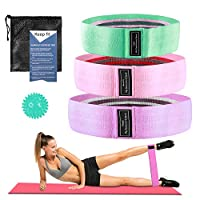 3pcs Booty Bands Fabric Resistance Glute Bands for Legs and Butt Hip Workout Exercise Bands with Spiky Massage Ball and Carry Bag Yoga Pilates Strength Training