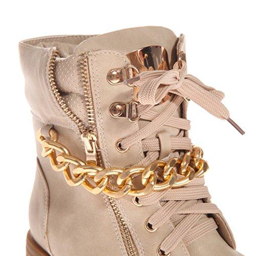 La Modeuse - Bottines de type rangers, en simili cuir, dotées d'une grosse chaîne dorée Beige