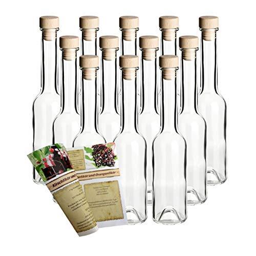 gouveo 24er Set Leere Glasflaschen Sinfonie 200 ml incl. Holzgriffkorken zum selbst Abfüllen Likörflasche Schnapsflasche, Öffnung 19mm