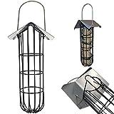 Vogelfutterstation 25 cm Futterspender für Meisenknödel Vogelhaus zum Hängen aus Metall - mit Dach und Halterung