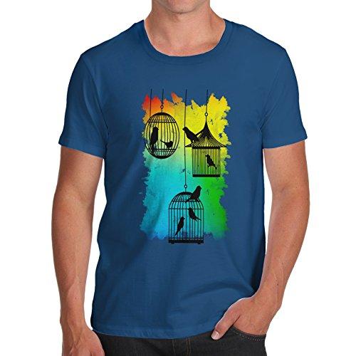 Herren Rainbow Bird Cages T-Shirt Königsblau