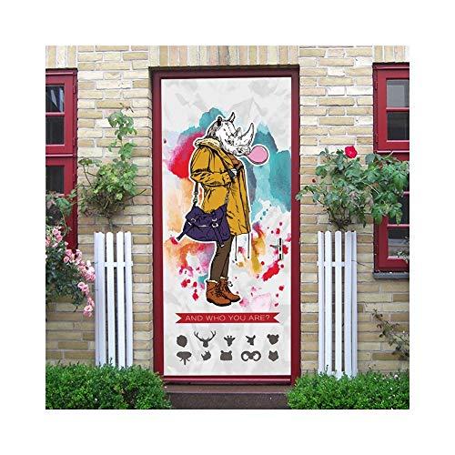 3D Giraffe Rhino Tür Aufkleber 200 cm Selbstklebende Abnehmbare Tür Kunst Wandbilder Dekoration PVC Aufkleber für Badezimmer Schlafzimmer Wc Kindergarten und Kinderzimmer