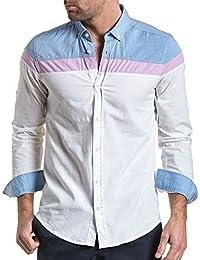 BLZ jeans - Chemise homme détente tricolore bleu et blanche