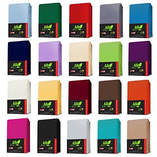 AR Line TOPPER Jersey Spannbettlaken 180 x 200 cm aus 100% Baumwolle, in Farbe: Anthrazit-Grau