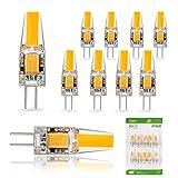 Liqoo 10er G4 LED 2W Lampe Birne high Power COB Chip gleichmäßige Beleuchtung 107D Kapazitanz inkl.IC hohe CRI 83Ra super mini Ø 9,6mm 2800K Warmweiß 210LM Ersetzt 20W Halogenlampe AC DC 12V Abstrahlwinkel 260º