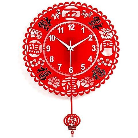 Orologio da parete ShiQi non vola Decration dono orologio al quarzo 20 contemporaneo pollice cinque benedizioni Mute per Cucina Soggiorno