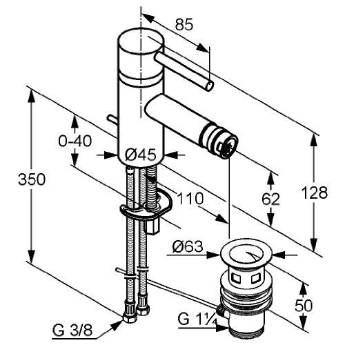 Kludi Bozz 385330576 Bidet-Einhebelmischer mit Ablaufgarnitur chrom