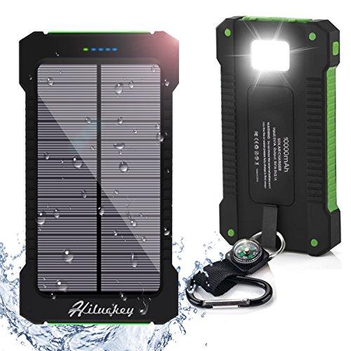 Hiluckey caricabatterie portatile 10000mah dual usb batteria esterna ricarica rapida - solare power bank led torcia periphone 6/7plus ipad,samsung, huawei, asus, htc smartphone android, ( impermeabile antiurto )