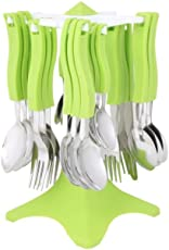 Apex Stainless Steel Cutlery Set with One Butter Knife(Green) - Pack of 24