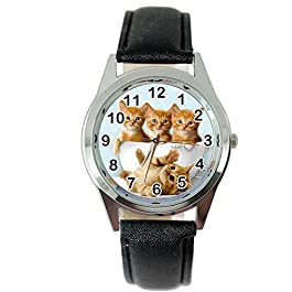 Taport Orologio al quarzo con gattini, con cinturino nero in pelle e batteria di ricambio, in confezione regalo