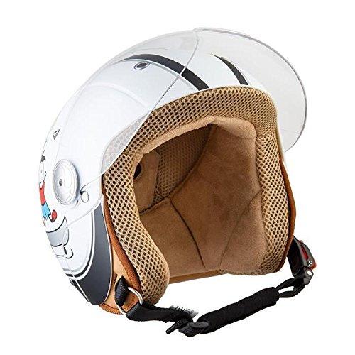 SOXON SK-55 Kids Fun White · Chopper NINOS Moto motocicleta Urbano Vintage Urban Kids Pilot Retro Bobber Scooter Mini-Jet Vespa Cruiser Casco Jet Biker Mofa Helmet · ECE certificado · visera incluido · incluyendo bolsa de casco · Blanco · S (53-54cm)