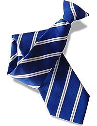 Herren Clip auf Krawatte - Königsblau mit Weiß & Gold Streifen