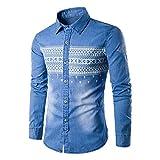 YaXuan Herren Jeanshemd, Herbstmode männlichen Hemd mit Langen Ärmeln Tops Cowboy Mens Dress Shirts dünne Männer Hemd (Farbe : Hellblau, Größe : XL)