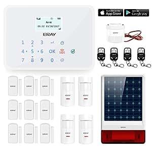 ERAY GT1 GSM Alarme Maison Sans Fil Système d'alarme Anti Intrusion, IOS / Android APP, Appels et SMS, Interphone, Touche Tactile, Menu Française - Avec Sirène Extérieure Solaire Sans fil