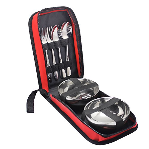 Hysagtek 6 Stück Portable Edelstahl Travel Camping Besteck Besteck Geschirr Besteck Set Portable Geschirr Kit mit Reißverschluss Fall, Löffel, Gabel, Schüssel für 2 Personen