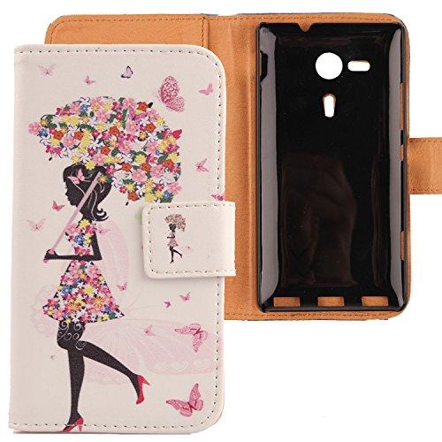 Lankashi PU Flip Leder Tasche Hülle Case Cover Schutz Handy Etui Skin Für Sony Xperia SP M35h Umbrella Girl Design