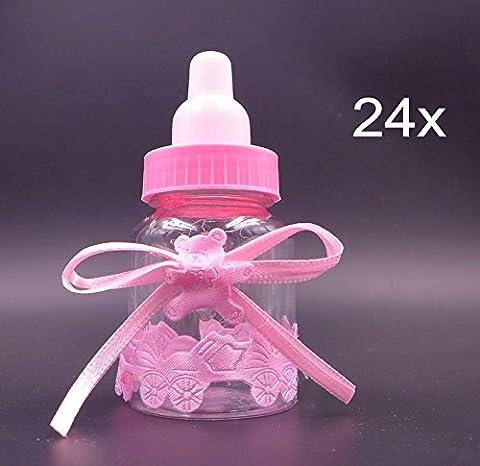 JZK® 24 x Blau Baby Candy Mädchen Box Flasche Baby Shower Geschenk Box Party Taufe Geschenkpaket (Rosa)