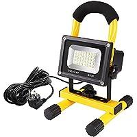 Ustellar 20W 1600LM Foco Proyector LED con 5M Cable, LED Portatíl Trabajo Interior o Exterior, Blanca Fría 6000K, Impermeable IP65, Flexible Con Enchufe de EU Para Patio, Terraza, Camping