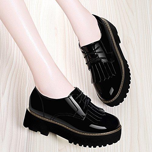 e Schuhe Schwarz 5 cm dicken Kiefer Kuchen Schuhe dicken Biskuitboden High-Heeled Schuhe einzelne Schuhe weibliche koreanische Version von Die Wilde 36 (Clark Schuhe Weiblich)