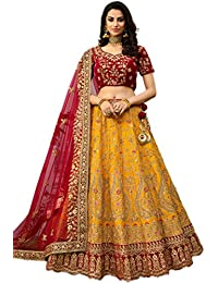 Fast Fashions Women's Embroidered Semi-Stitched Lehenga Choli (FF-5315_Yellow_Free Size)