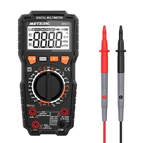 Multímetro Digital, Meterk 6000 Counts Medición de multímetro, True RMS Voltímetro con NCV y LIVE, Polimetro mide AC/DC voltaje y corriente Ohmímetro continuidad LCD Retroiluminada