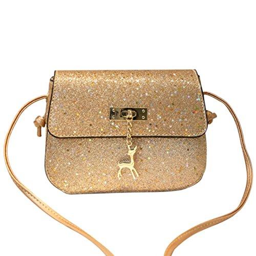 URSING Damen Ledertasche Umhängetasche Kleine Damentasche Kleiner Hirsch Schultertaschen Handtasche Retro Vintage Tasche Crossbody Bag Süßes Festivaltasche Kuriertaschen Freizeittasche (Gold)