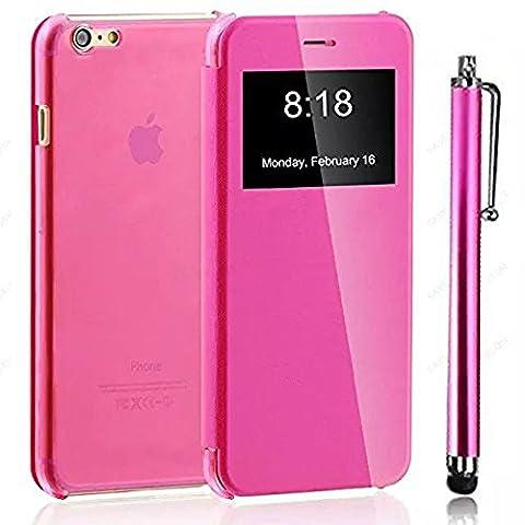 Etui iPhone 7,Vandot Coque pour iPhone 7 Case Pochette Protection PC Plastique Coquille iPhone 7 4.7 Pouces Flip Etui Housse Matt TPU Clair Transparente Shell Retour Skin Shell Couverture-Rose Rouge