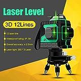 360 Orizzontale e Verticale Croce Livella Laser, Laser Level Verde Autolivellante Campo di Lavoro 25m (3D 12 Linee)