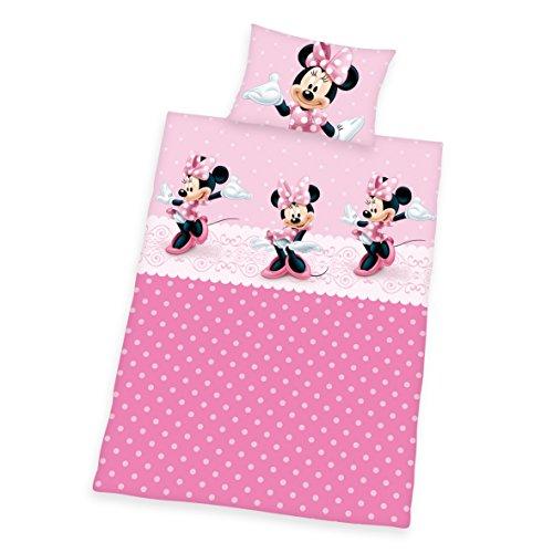 Herding 2478029063412 Bettwäsche Disney's Minnie Mouse, Kopfkissenbezug, 40 x 60 cm und Bettbezug, 100 x 135 cm, renforce (Disney Prinzessin Kissen)