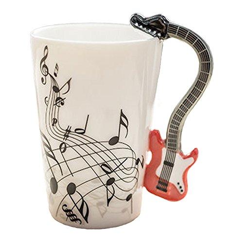 Mug avec anse en forme de guitare rouge