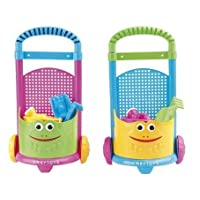 6 Set Pull Along Trolley Cart for Beach Garden Great Outdoor Play Toy Comes with Bucket Rake Spade Watering Can