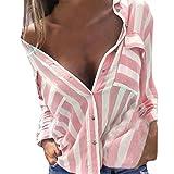 Sunnywill Damen Blusen V-Ausschnitt Streifen Langarmshirts Blusen Kariertes Hemd Oberteile (Rosa, XL)