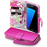 Galaxy S7 Edge Case, Terrapin [Pink] [Lily Floral Interior] Textured PU Leather Wallet Case with Card Slots Cash Compartment and Detachable Wrist Strap for Samsung Galaxy S7 Edge - Pink