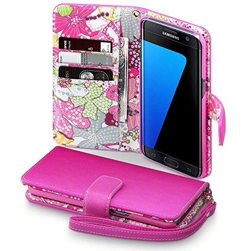 Samsung Galaxy S7 Edge Funda Cartera Premium PU Tapa delantera con billetera para tarjetas y Correa Extraible - Rosa con flores interiores de Lirio