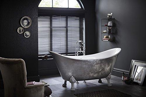 Casa Padrino Jugendstil Badewanne freistehend Edelstahleffekt Modell He-Lyd 1730mm - Freistehende...