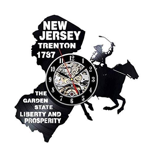 GuoEY Vinyl Record Uhr American New Jersey Ethylen Uhr Retro-Stil Handgefertigte Wand Wanddekoration Hohl (Halloween New Jersey)