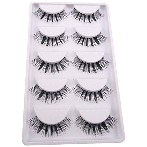 Preisvergleich Produktbild Bluelans® 5 Paar Schwarz Quer Starke Lange Künstliche Falsche Wimpern Weiche Eyelashes Wimpernverlängerung Party Make-up