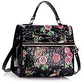 Womens Designer Handbag Floral Ladies Tote Bag Fashion Faux Leather Patent Shoulder