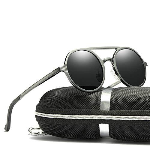 KJWELUQ Sonnenbrille Männer polarisierte runde Rahmen-Sonnenbrille-Aluminiummagnesiumlegierungs-Fahrer-Gläser, die Spiegel Fahren