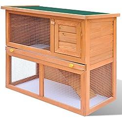 Conejera de Exterior Casa Para Animal Pequeño Jaula de Mascota de Madera - 1 Puerta
