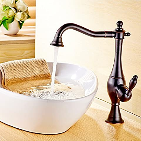 QNQAHousehold sanitary ware, kitchen faucet, hot and cold water, European style gold, single hot and cold water tank, faucet drawing, single hole basin, archaize faucet,Black