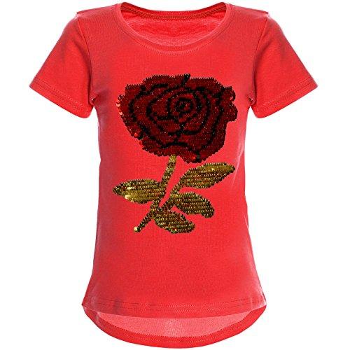 BEZLIT Mädchen Wende-Pailletten T-Shirt Rose ALS Motiv 22035, Farbe:Pink, Größe:164