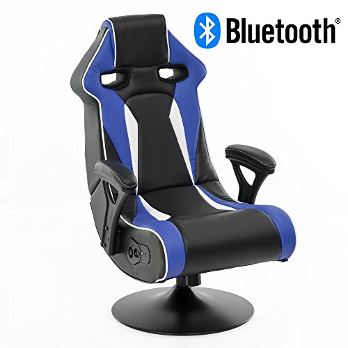 Wohnling® Soundchair Specter II in Blau-Weiß-Schwarz mit Bluetooth | Racing Musiksessel eingebaute Lautsprechern | Multimediasessel Gamer | 1.1 Soundsystem - Subwoofer | Music Sessel Rocker Chair