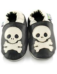 Snuggle Feet - Chaussons Bébé en Cuir Doux - Crâne et os croisés