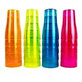 NEON STYLES – Bierbecher, 500 ml, 20 Stück in einem Set, in vier bunten Neonfarben-Mix, pink, grün, orange und blau -brillant im Tageslicht - leuchten unter...