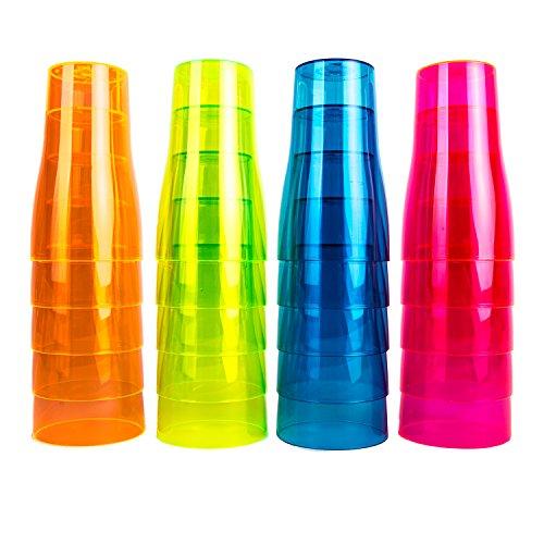 NEON STYLES - Bierbecher, 500 ml, 20 Stück in einem Set, in vier bunten Neonfarben-Mix, pink, grün, orange und blau -brillant im Tageslicht - leuchten unter Schwarzlicht noch intensiver