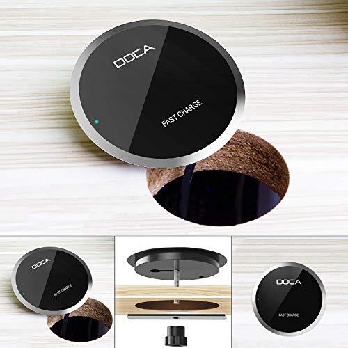 DOCA Induktionsladegerät Qi Schreibtisch Induktives Laden Wireless Charger Tisch Einbau Fast Charge...