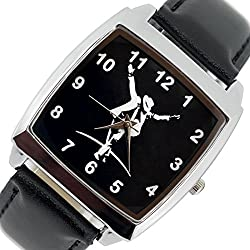 TAPORT® MICHAEL JACKSON Quartz SQUARE Watch Black Real Leather Band Dial+FREE SPARE BATTERY+FREE GIFT BAG
